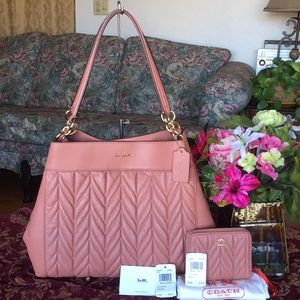 NWOT Coach Quilted Lexy Soft Leather Bag & Wallet